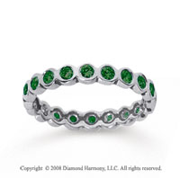 1/2 Carat Emerald 18k White Gold Round Bezel Eternity Band