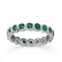1 Carat Emerald 18k White Gold Round Bezel Eternity Band