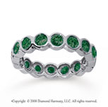 1 1/2 Carat Emerald 18k White Gold Round Bezel Eternity Band