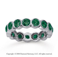 2 1/2 Carat Emerald 18k White Gold Round Bezel Eternity Band