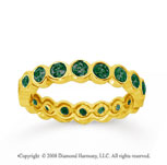 1 Carat Emerald 14k Yellow Gold Round Bezel Eternity Band