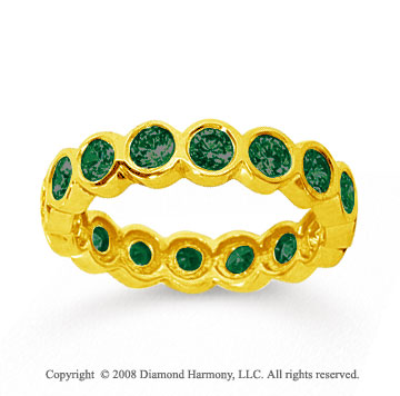 1 1/2 Carat Emerald 14k Yellow Gold Round Bezel Eternity Band