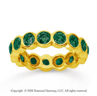 2 Carat Emerald 14k Yellow Gold Round Bezel Eternity Band