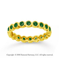 1/2 Carat Emerald 18k Yellow Gold Round Bezel Eternity Band