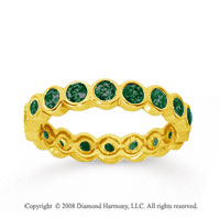 1 Carat Emerald 18k Yellow Gold Round Bezel Eternity Band