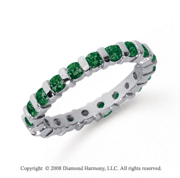 1 Carat Emerald Platinum Eternity Round Bar Band