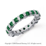 1 1/2 Carat Emerald Platinum Eternity Round Bar Band