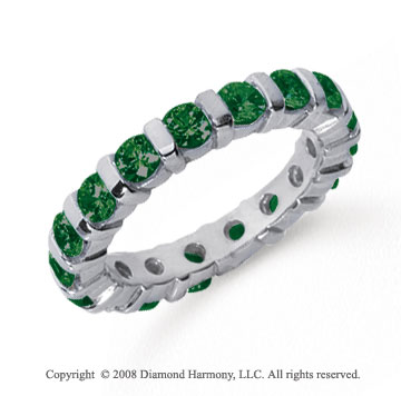2 Carat Emerald Platinum Eternity Round Bar Band