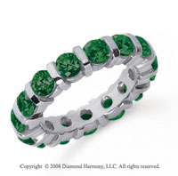 3 Carat Emerald Platinum Eternity Round Bar Band