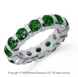 4 Carat Emerald Platinum Eternity Round Bar Band