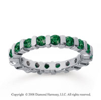 1 1/2 Carat Emerald 14k White Gold Eternity Round Bar Band