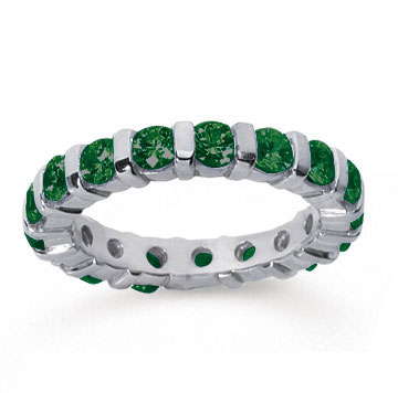2 Carat Emerald 14k White Gold Eternity Round Bar Band