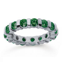 2 1/2 Carat Emerald 14k White Gold Eternity Round Bar Band