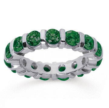 3 Carat Emerald 14k White Gold Eternity Round Bar Band
