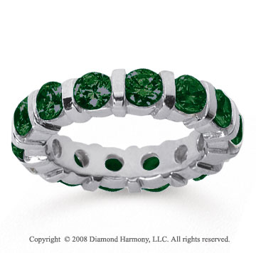 4 Carat Emerald 14k White Gold Eternity Round Bar Band