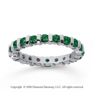 1 Carat Emerald 18k White Gold Eternity Round Bar Band