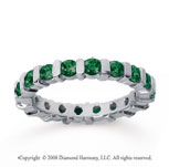 1 1/2 Carat Emerald 18k White Gold Eternity Round Bar Band