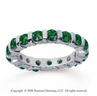 2 Carat Emerald 18k White Gold Eternity Round Bar Band