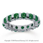 2 1/2 Carat Emerald 18k White Gold Eternity Round Bar Band