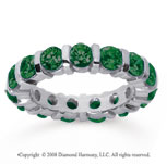 3 Carat Emerald 18k White Gold Eternity Round Bar Band