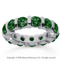 5 Carat Emerald 18k White Gold Eternity Round Bar Band