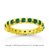 1 Carat Emerald 14k Yellow Gold Eternity Round Bar Band