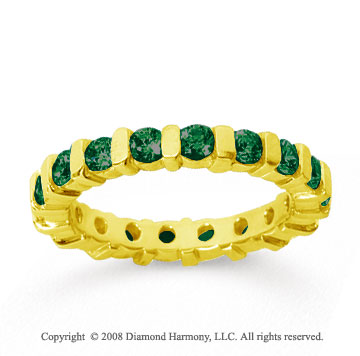 1 1/2 Carat Emerald 14k Yellow Gold Eternity Round Bar Band