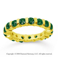 2 Carat Emerald 14k Yellow Gold Eternity Round Bar Band