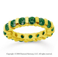 2 1/2 Carat Emerald 14k Yellow Gold Eternity Round Bar Band