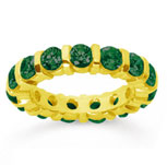 3 Carat Emerald 14k Yellow Gold Eternity Round Bar Band