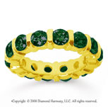 4 Carat Emerald 14k Yellow Gold Eternity Round Bar Band