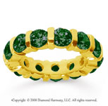 5 Carat Emerald 14k Yellow Gold Eternity Round Bar Band