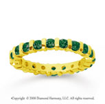 1 Carat Emerald 18k Yellow Gold Eternity Round Bar Band