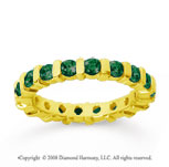 1 1/2 Carat Emerald 18k Yellow Gold Eternity Round Bar Band