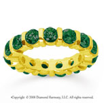 3 Carat Emerald 18k Yellow Gold Eternity Round Bar Band