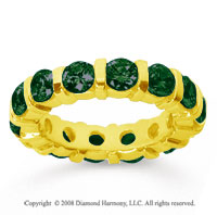 4 Carat Emerald 18k Yellow Gold Eternity Round Bar Band