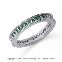 1/2 Carat Emerald Platinum Milgrain Prong Eternity Band