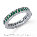 3/4 Carat Emerald Platinum Milgrain Prong Eternity Band