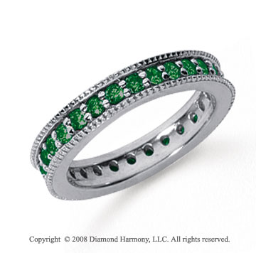 1 Carat Emerald Platinum Milgrain Prong Eternity Band