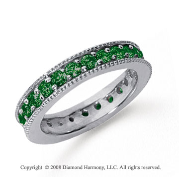 1 1/4 Carat Emerald Platinum Milgrain Prong Eternity Band