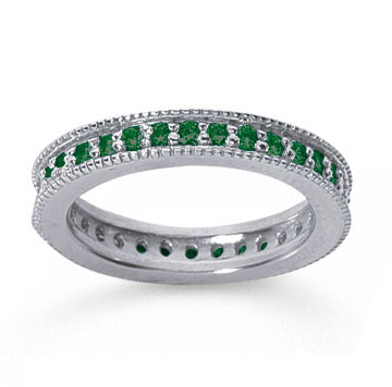 3/4 Carat Emerald 14k White Gold Milgrain Prong Eternity Band
