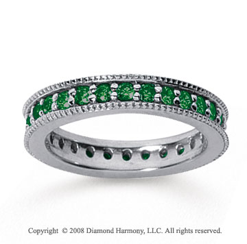 1 Carat Emerald 14k White Gold Milgrain Prong Eternity Band