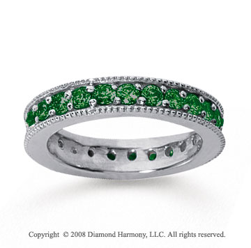 1 1/4 Carat Emerald 14k White Gold Milgrain Prong Eternity Band
