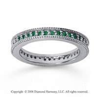 1/2 Carat Emerald 18k White Gold Milgrain Prong Eternity Band