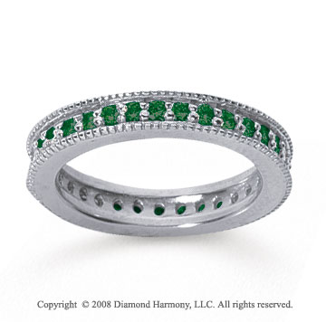 3/4 Carat Emerald 18k White Gold Milgrain Prong Eternity Band