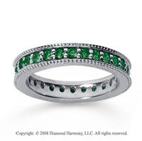 1 Carat Emerald 18k White Gold Milgrain Prong Eternity Band