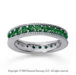 1 1/4 Carat Emerald 18k White Gold Milgrain Prong Eternity Band