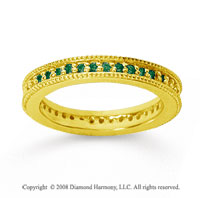 1/2 Carat Emerald 14k Yellow Gold Milgrain Prong Eternity Band