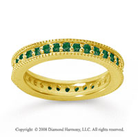 3/4 Carat Emerald 14k Yellow Gold Milgrain Prong Eternity Band