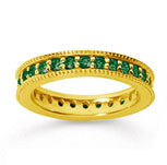 1 Carat Emerald 14k YelloWhite Gold Milgrain Prong Eternity Band